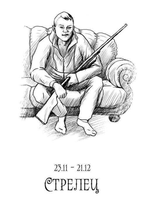 Знаки зодіаку «чіткого гороскопу» (12 малюнків)